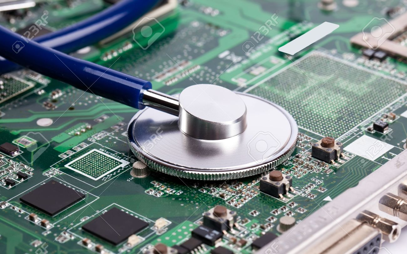 13215552-Laptop-green-motherboard-with-stetoscope-on-it-Stock-Photo-repair-laptop-computer